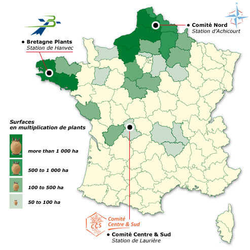 Map of the french production os seed potatoes